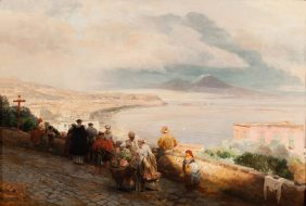 La baie de Naples vue depuis Posillipo avec des figures au premier plan