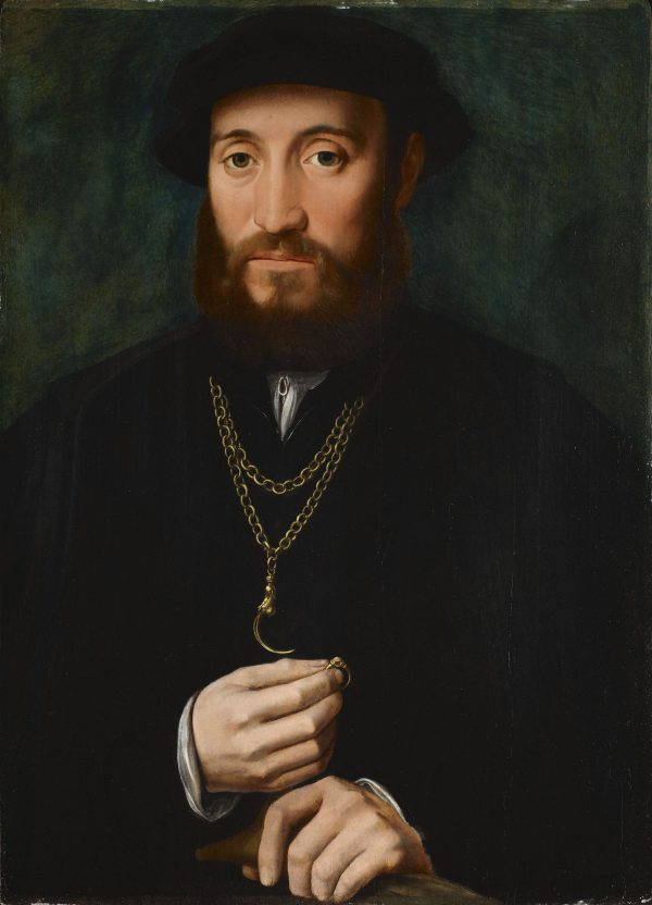 Portrait of a gentleman, half length, wearing a black costume and hat, holding a glove and a ring.