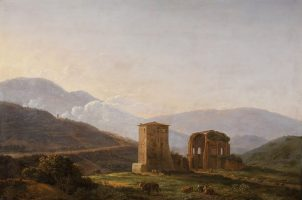 An italianate landscape with ruins and cattle