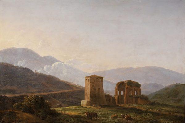 Paysage italien avec ruines et bétail