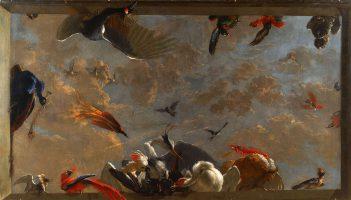 Trompe-l'oeil à décor d'oiseaux exotiques