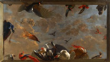 Trompe-l'oeil with exotic birds