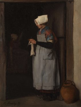 Bonvin François, Breton Woman Knitting in a Doorway