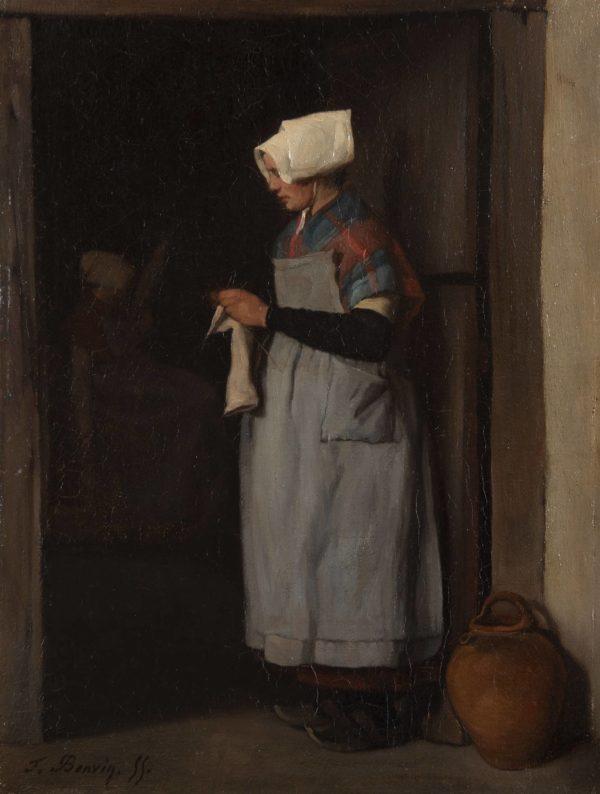 Bonvin François, Breton Woman Knitting in a Doorway