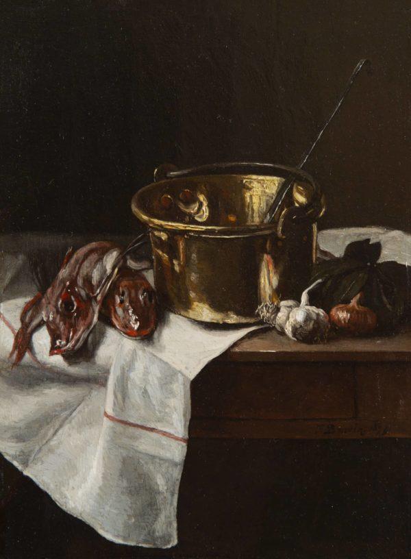 François Bonvin, Still Life with Piper Gurnard, Cauldron and Garlic