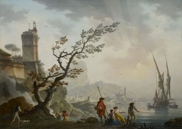 Bord de mer méditerranéen au crépuscule animé de pêcheurs