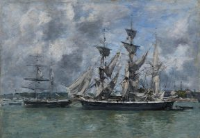 Three-masted ship in port