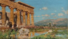 Alceste Campriani, Vue du temple de Poséidon à Paestum