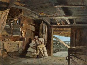 Guido Carmignani, Man Resting in a Ship Mill on the Po at Sacca