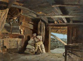 Guido Carmignani, Homme au repos dans un moulin flottant sur le Pô à Sacca