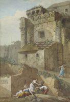 Ruines romaines avec des personnages