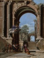 Saint Peter Baptizing the centurion and the Arch of Titus