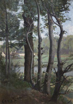 Les Evaux, près Château-Thierry, chemin bordé d'arbres