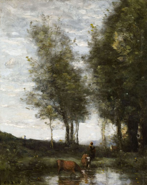 The Pond, Woman grazing Cows