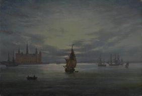 Johan Christian Dahl, Kronborg Castle by Moonlight