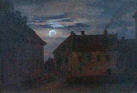 Vieilles maisons au crépuscule