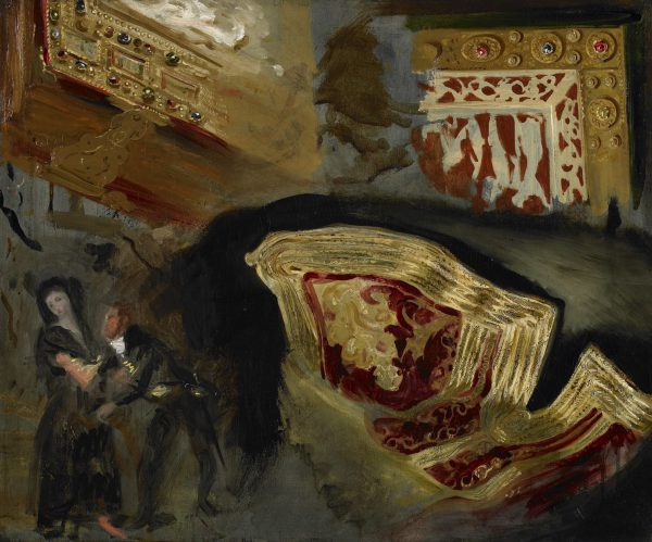 Study of a suliot cloth, kontogouni missal covers and figures from Goya