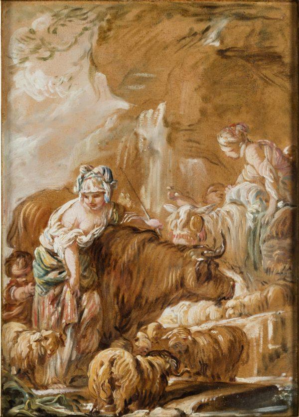 Jean-Baptiste Deshays, Herd near a Waterfall