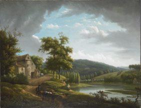 River landscape with farmhouse