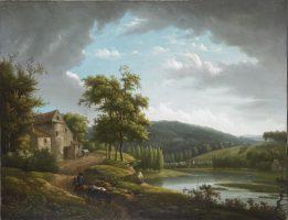 Paysage fluvial avec une ferme