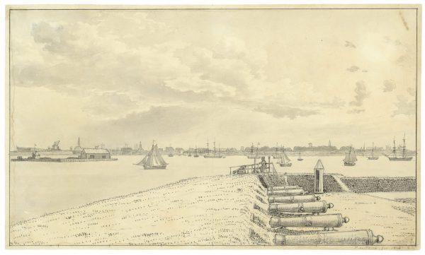 Vue depuis la fortification Trekroner avec Copenhague au fond