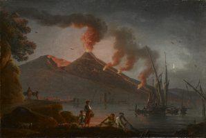 Eruption du Vésuve depuis la baie de Naples, la nuit