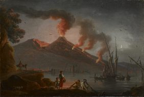Eruption of Vesuvius, the Bay of Naples at Night
