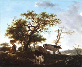 Family of Shepherds on a river landscape