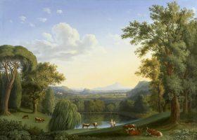 Le jardin anglais de Ferdinand IV à Caserta devant un paysage idéal