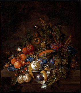 Grapes, Plums, Melon, Apricots, a peeled Lemon, Hazelnuts on a Stone Ledge