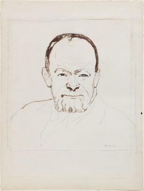 Autoportrait âgé de 63 ans avec une expression souriante