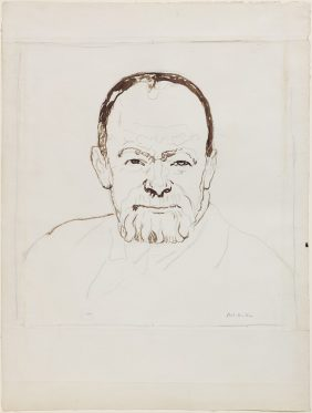 Self-portrait of the 63-year old Artist with a smiling Expression