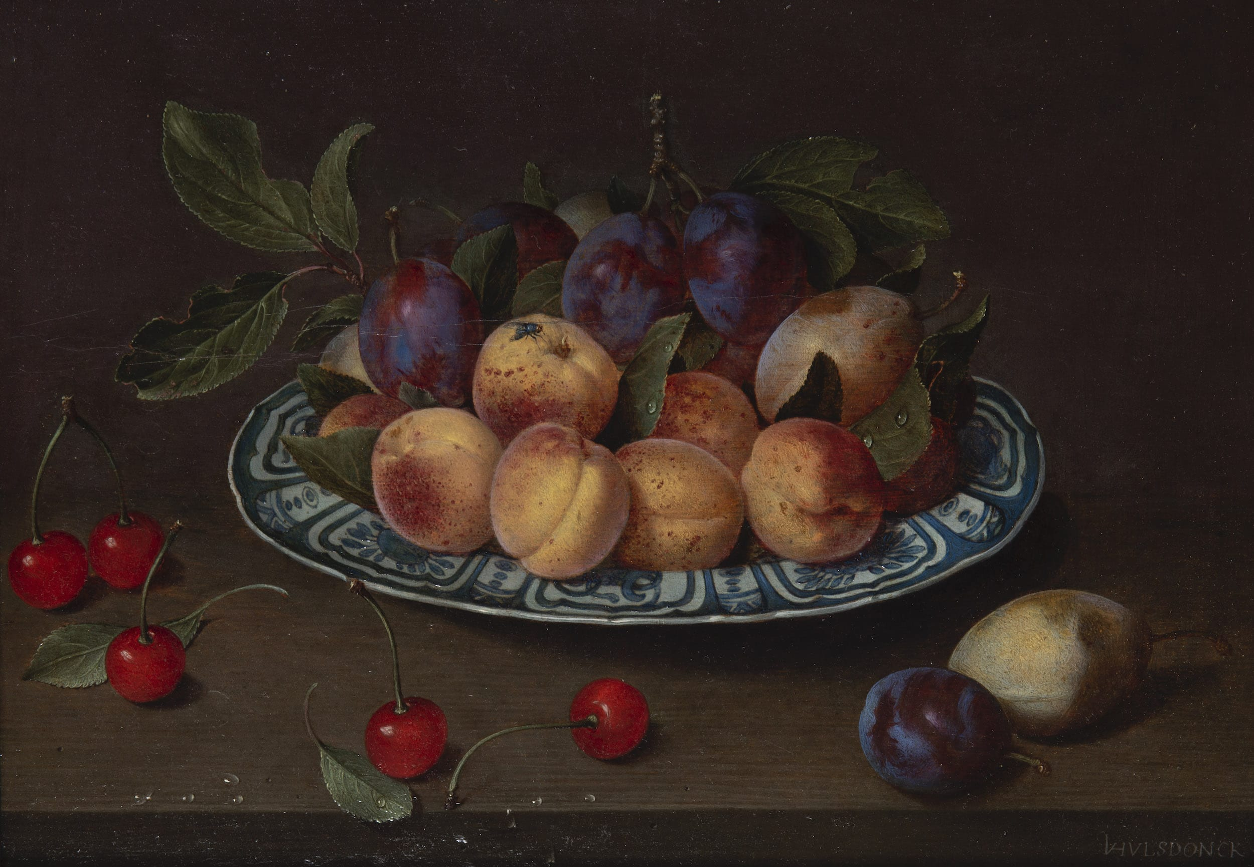 Platter of plums, peaches and pears with cherries on a table