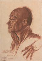 Portrait d'homme chinois de profil et étude de main