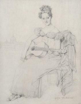 Elisabeth Keating jouant de la guitare, vue du Vatican en arrière plan