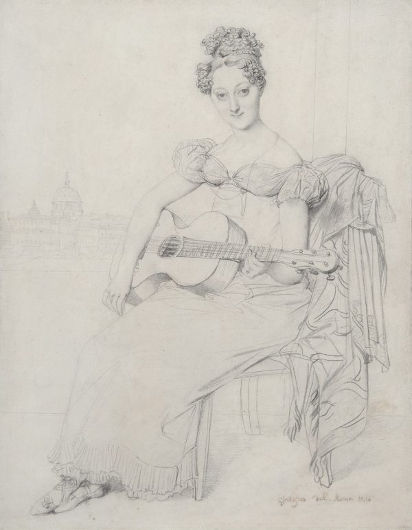 Elisabeth Keating seated playing her guitar, view of the Vatican in the background