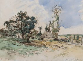 Johan Barthold Jongkind, Countryside at Sainte-Adresse, Normandy