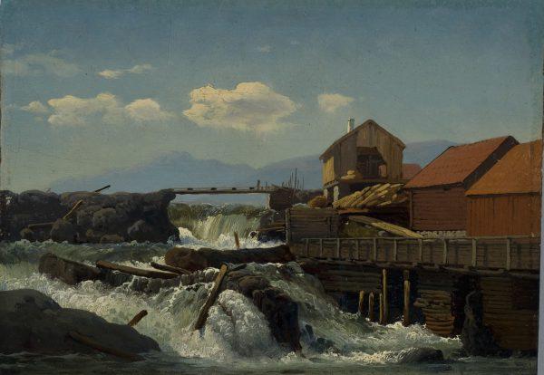 Scierie au bord d'une rivière, Norvège