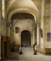 Vue du bas-coté d'une église en Normandie
