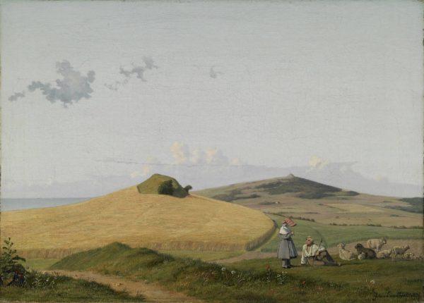 Johan Thomas Lundbye, Vue de Hankehøj, avec Vejrhøj en arrière-plan, Seeland