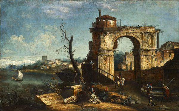 Capriccio View with triumphal Arch and Fountain