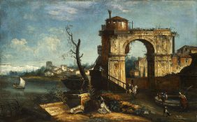 Caprice architectural avec arc de triomphe et fontaine