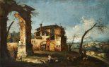 Caprice architectural avec arc en ruine et maisons paysannes