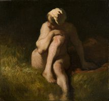 Nude bather by the waterside