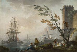 Rivage méditerranéen avec des pêcheurs