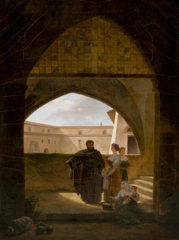 Italiennes offrant l'aumône aux moines franciscains
