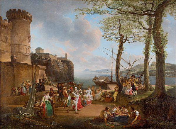 La Tarentelle: An evening coastal Landscape with Neapolitan Peasants dancing the Tarantella