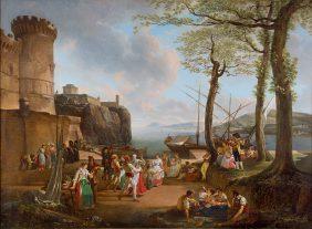 La Tarentelle. Bord de mer au crépuscule avec paysans napolitains dansant la Tarantella