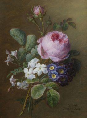 Cornelis van Spaendonck, Bouquet de roses anciennes, jasmins et primevères