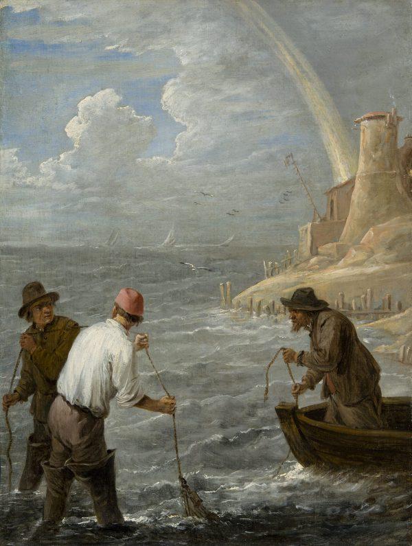 Trois pêcheurs relevant leurs filets